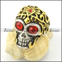 red rhinestone skull ring with gold plating head r001169