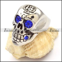 stainless steel skull rings with blue eyes -r000475
