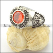 ONE FOR ALL ring with clear red facted zircon r001158
