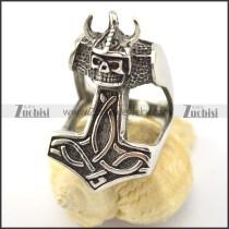 Wearing Horn Cap skull stainless steel rings r001581