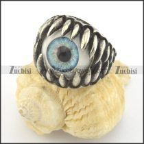 pale blue evil eye jewelry in stainless steel ring r001425