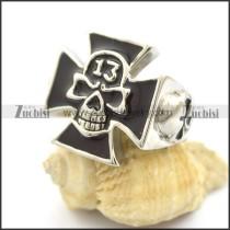 black epoxy 13 skull ring for bikers r001797