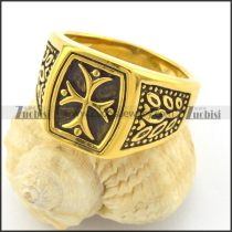 Yellow Gold Plating Cross Rings r001460