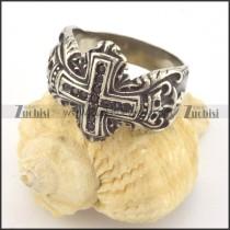 13 Small Black Rhinestones Cross Ring r001400