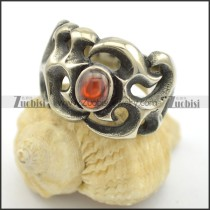 clear red oval cat eye stone stainless steel rings for women r001729