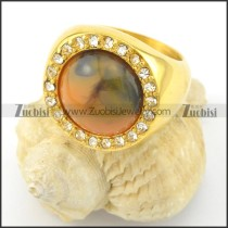 Tiger's eye ring in gold tone r001485