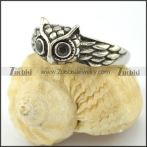 owl ring with 2 black stone eyes r001564