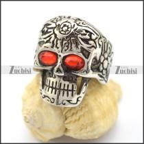 red rhinestone eyes flower skull ring r001748