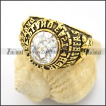 big clear zircon stone ring in vintage gold tone r001592
