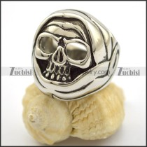 roung skull ring with 2 big hollow eyes r001706