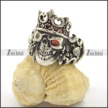 skull king ring with red rhinestone r001680