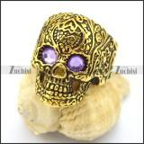 purple rhinestone eye gold flower skull ring r002007