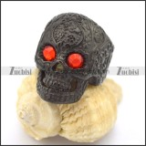 flame red eye black flower skull ring r002000