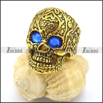 blue rhinestone eyes vintage gold flower skull ring r002005