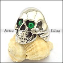 clear green facted rhinestone skull ring r001978
