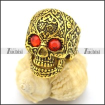 red-hot rhinestone eyes gold plating flower skull ring r002004