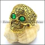 green rhinestone eye gold flower skull ring r002006