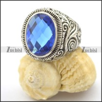 clear light blue facted stone ring r002034