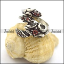 Scorpion King Ring with clear red crystals r002235