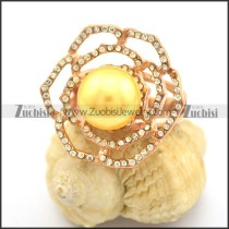 Maize Pearl Rings in Rose Gold Plating with Clear Rhinestones r002385