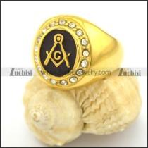 Gold-plating Masonic Rings with rhinestone r002243