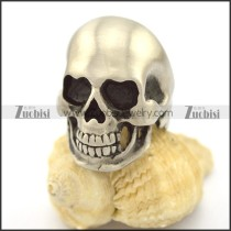 matte stainless steel skull ring r002203
