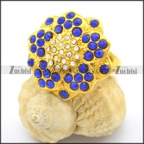 Gold Plated Blue Stone Rings with Small Clear Rhinestones Center r002367