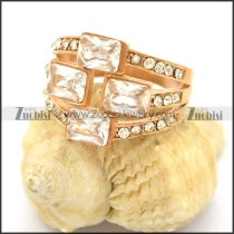 4 Clear Big Square Zirconia Rings in Rose Gold r002384