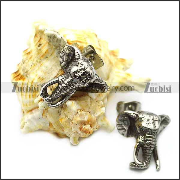stainless steel elephant earring