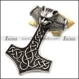 large wolf thor hammer pendant p007762