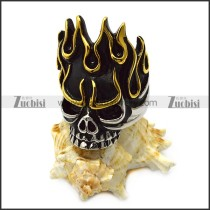 Flame Skull Ring in Golden and Silver Tone with Size 7 to 15 r005712