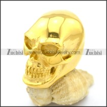 Large Shiny Polished Gold Plating Skull Ring r002611