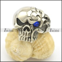 One Blue Rhinestone Eye Angry Skull Ring r002505