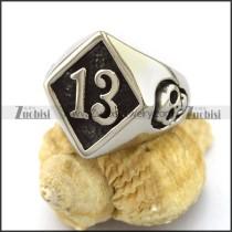 The Lucky 13 Skull Ring in Stainless Steel r002972