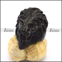Black Plated Lion Ring r003000
