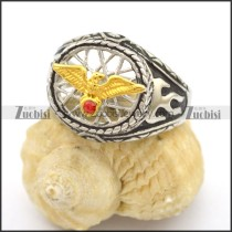Small Gold Eagle Ring with Red Rhinestone r002760