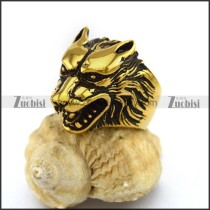 Vintage Gold Plated Stainless Steel Wolf Ring r003041