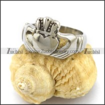 High Polished Stainless Steel Claddagh Crown Heart Ring r003006