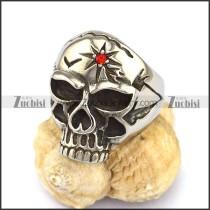 Red Rhinestone Star Skull Ring r002877