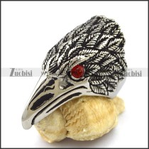 Casting Eagle Ring with Red Crystal Eyes r003018