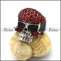Dark Red Rhinestones Skull Ring r002880