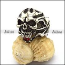 Skull Ring with Red Stone in Mouth r002876