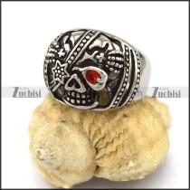 One Red Eye Stone Skull Ring r002874