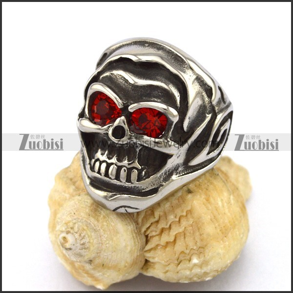 Clear Red Eyes Skull Ring r002878