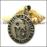 Viking Runes Coin Wolf Pendant as Gift for Men p007864