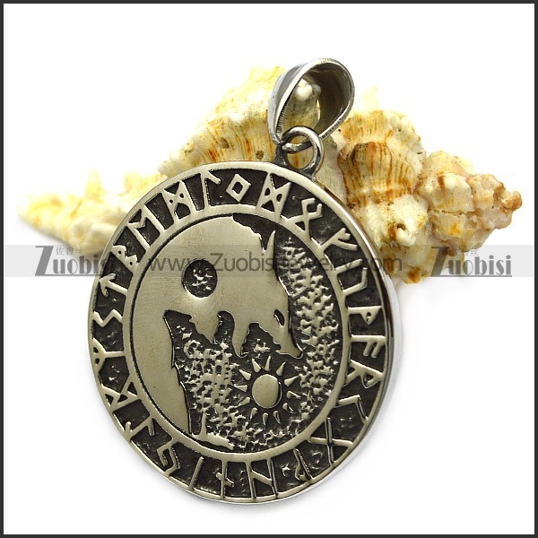 Viking Runes Coin Wolf Pendant as Gift for Men p007864