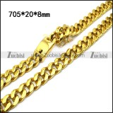stainless steel miami cuban link gold chain for men n002207