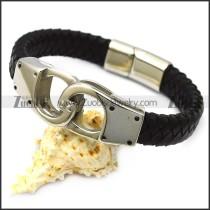 black leather handcuff bracelet for men b007823