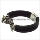 black leather bracelet with stainless steel wolf hammer for viking b007864