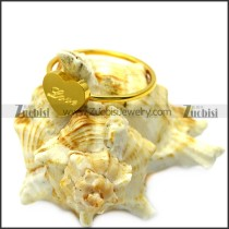heart shaped women ring engraved LOVE in yellow gold tone r005837